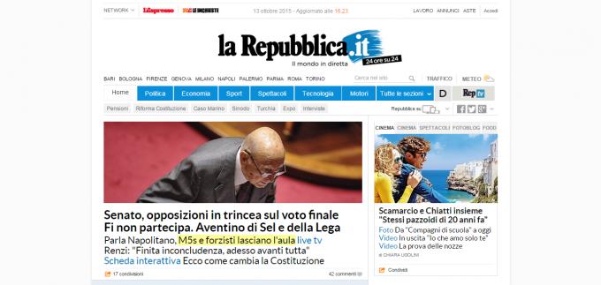 Repubblica.it con AdBlock attivo